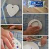 Un cœur en pâte auto-durcissante incrustée de perles, paillettes, gemmes...