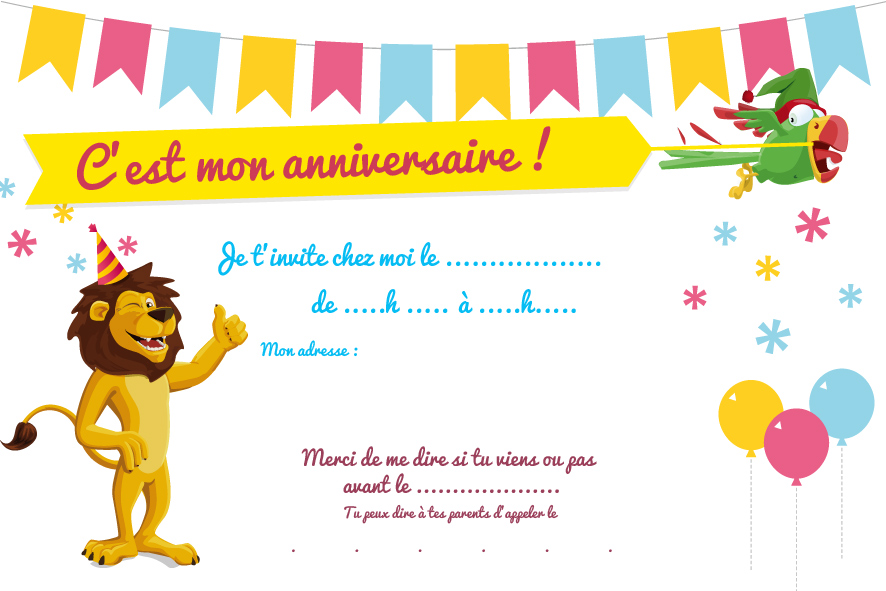 Top Cartes d'invitation d'anniversaire à imprimer - Le club du king JV95